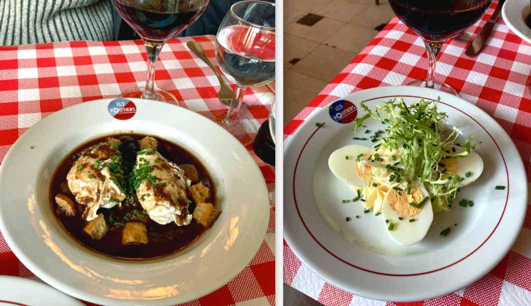 Restaurant Aux Bons Crus Routier oeufs en meurette et oeufs mayonnaise