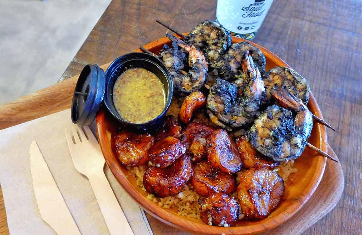 Restaurant New Soul Food brochettes de crevettes