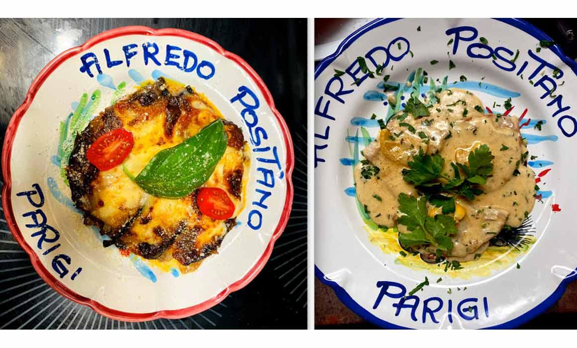 Restaurant Alfredo Positano aubergines et escalope limone
