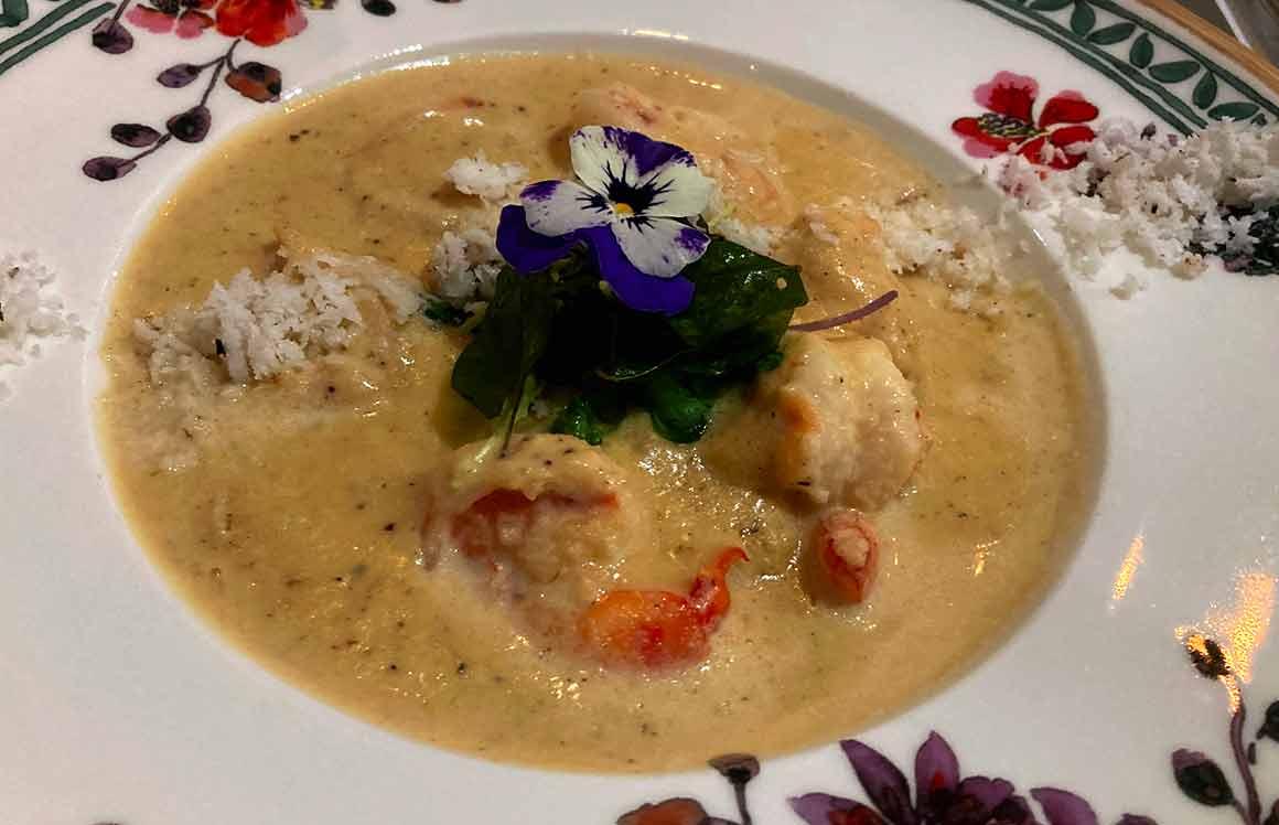 Restaurant Mayfair Garden crevettes coco Korma