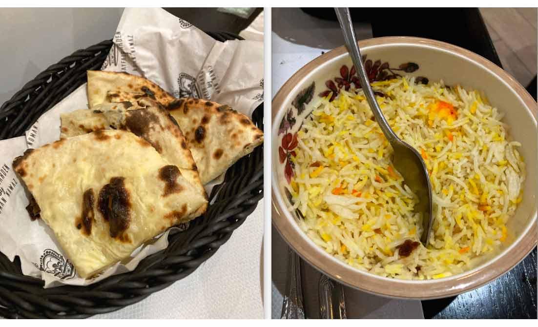 Restaurant Mayfair Garden naan fromage et riz Pualo