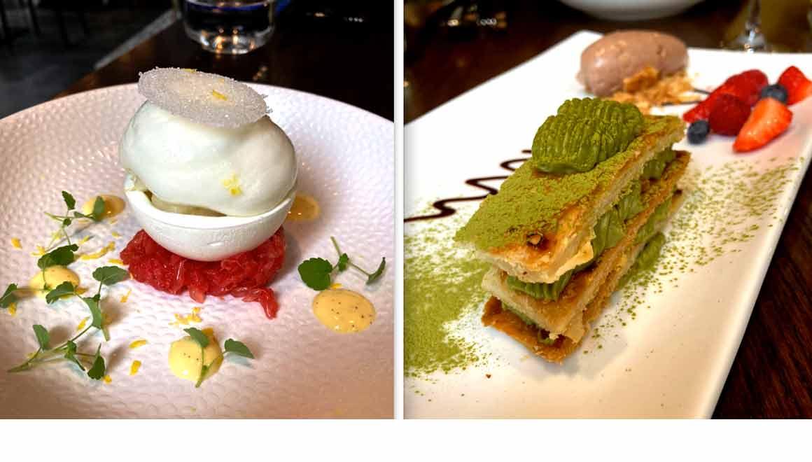 Restaurant Shiro Vacherin sorbet yuzu et Mille-feuilles de Matcha