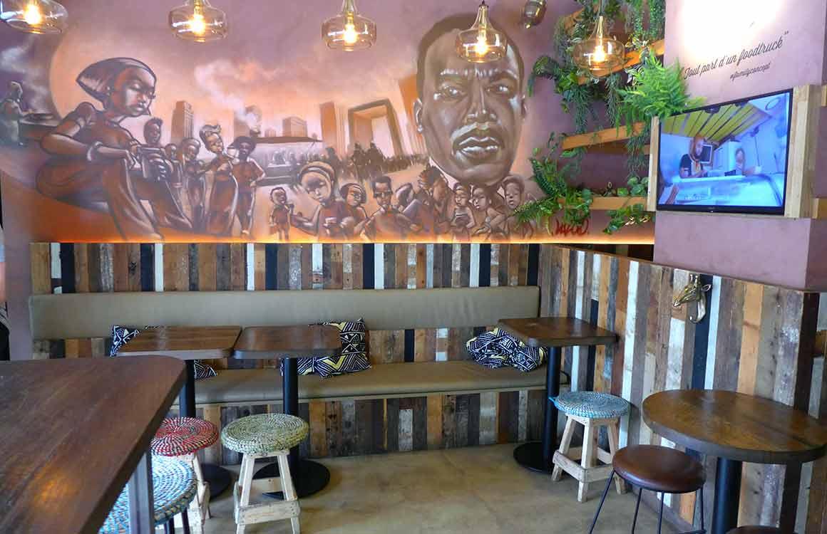 Restaurant New Soul Food la fresque de la salle