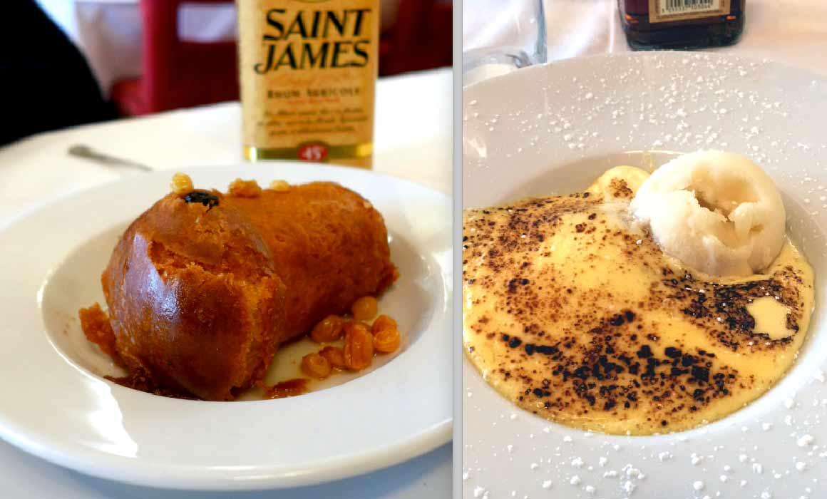 Restaurant Au boeuf couronné, les desserts