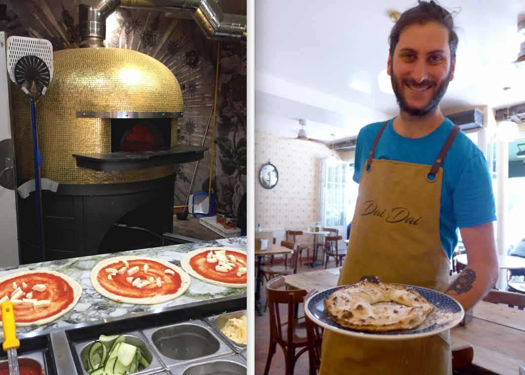 Restaurant Dai Dai, four à pizza et la présentation de la pizza Anello ripieno di Nutella