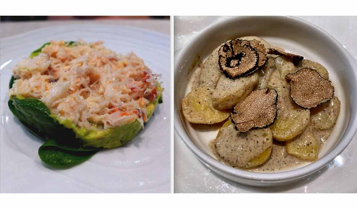 Restaurant Maxan tourteau et pommes de terre avec truffe