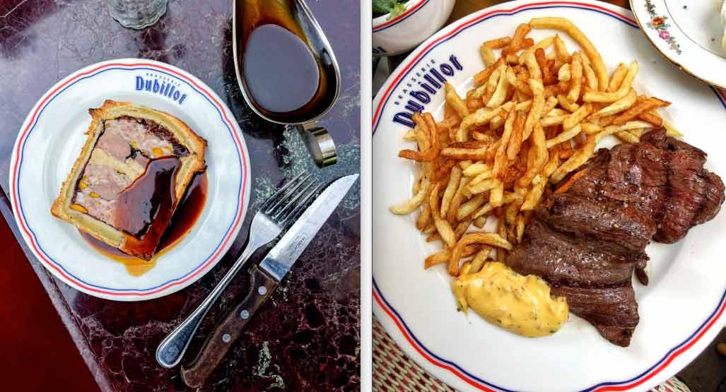La Brasserie Dubillot pâté en croûte et rumsteak