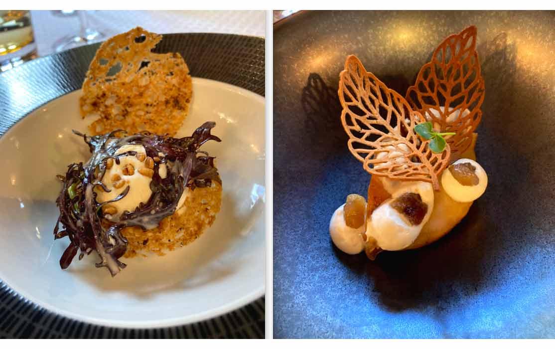 Restaurant Ochre camembert crémeux et poire pochée avec châtaigne