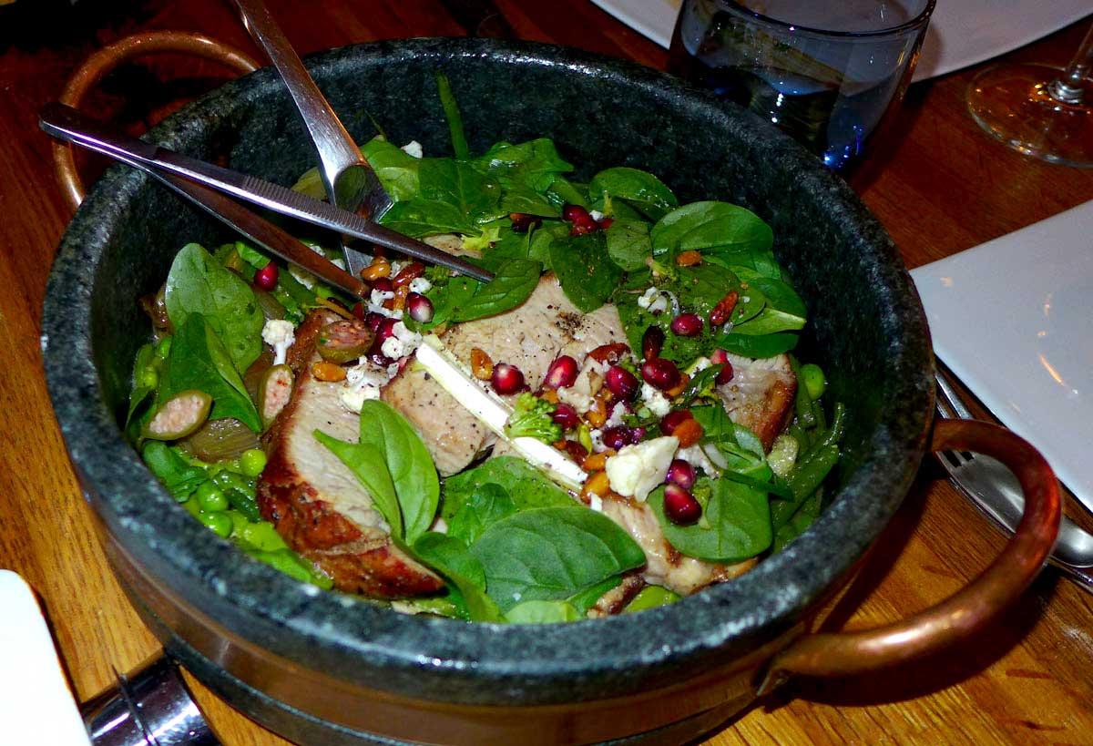 Restaurant A Noste, le veau et légumes