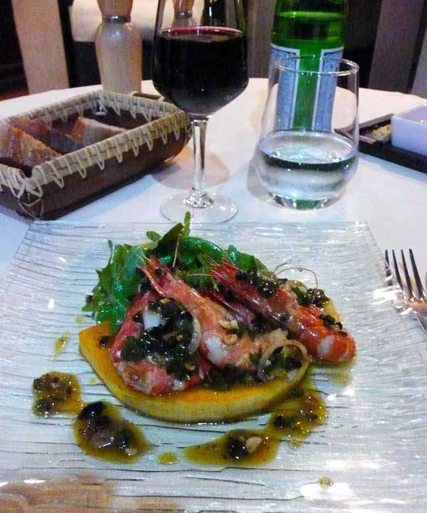 Restaurant Agapes, tranche de potiron et crevettes