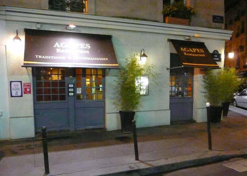 Restaurant Agapes, la devanture