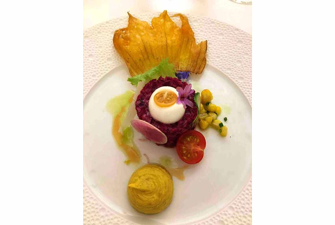 Restaurant Arpège : Tartare pourpre végétal