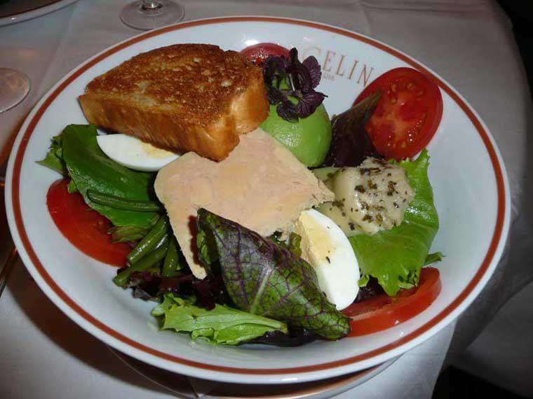 Restaurant Angelina, salade au foie gras