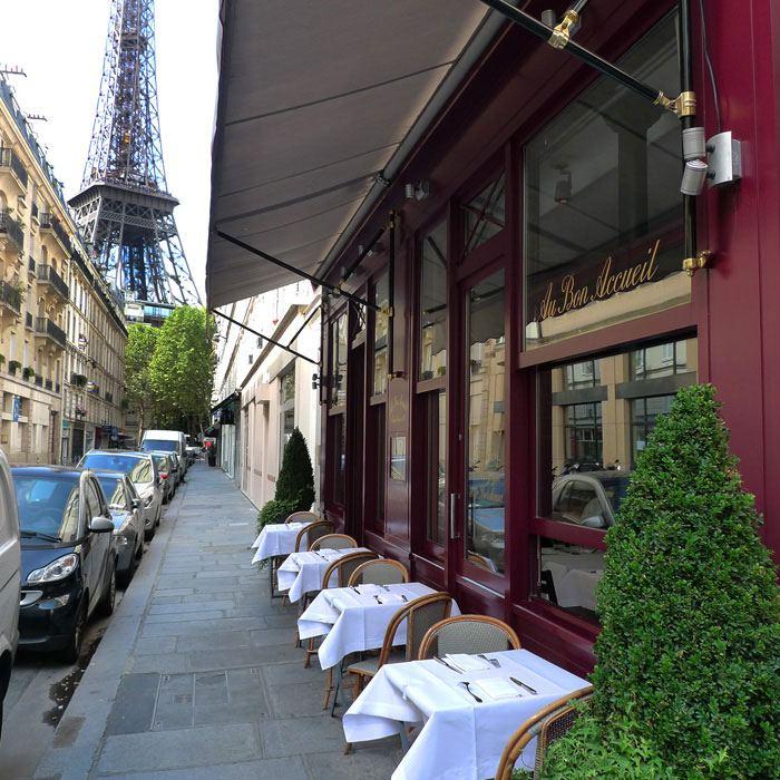 Restaurant Au Bon Accueil, Terrasse avec vue sur la Tour Eiffel )