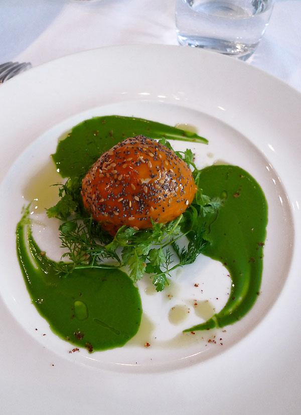 Restaurant Au Bon Accueil, ballotine de lotte aux poivrons confits