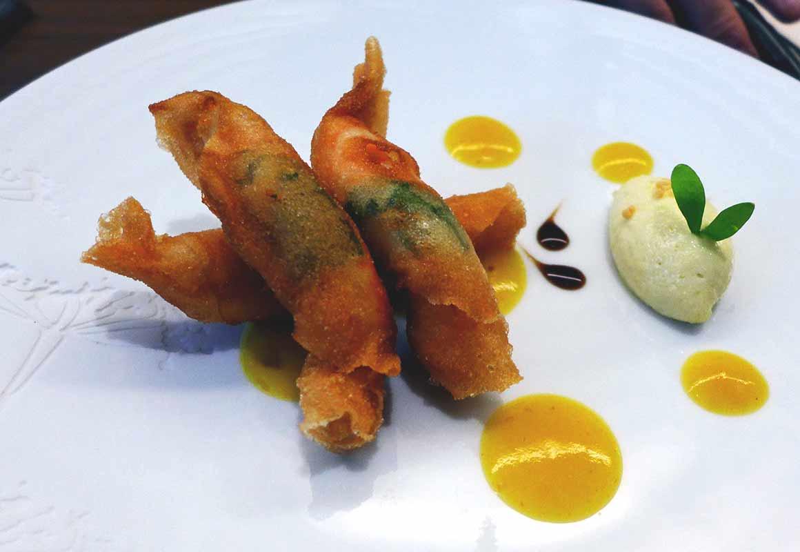 Restaurant Auguste : Croustillants de langoustines à la mélisse