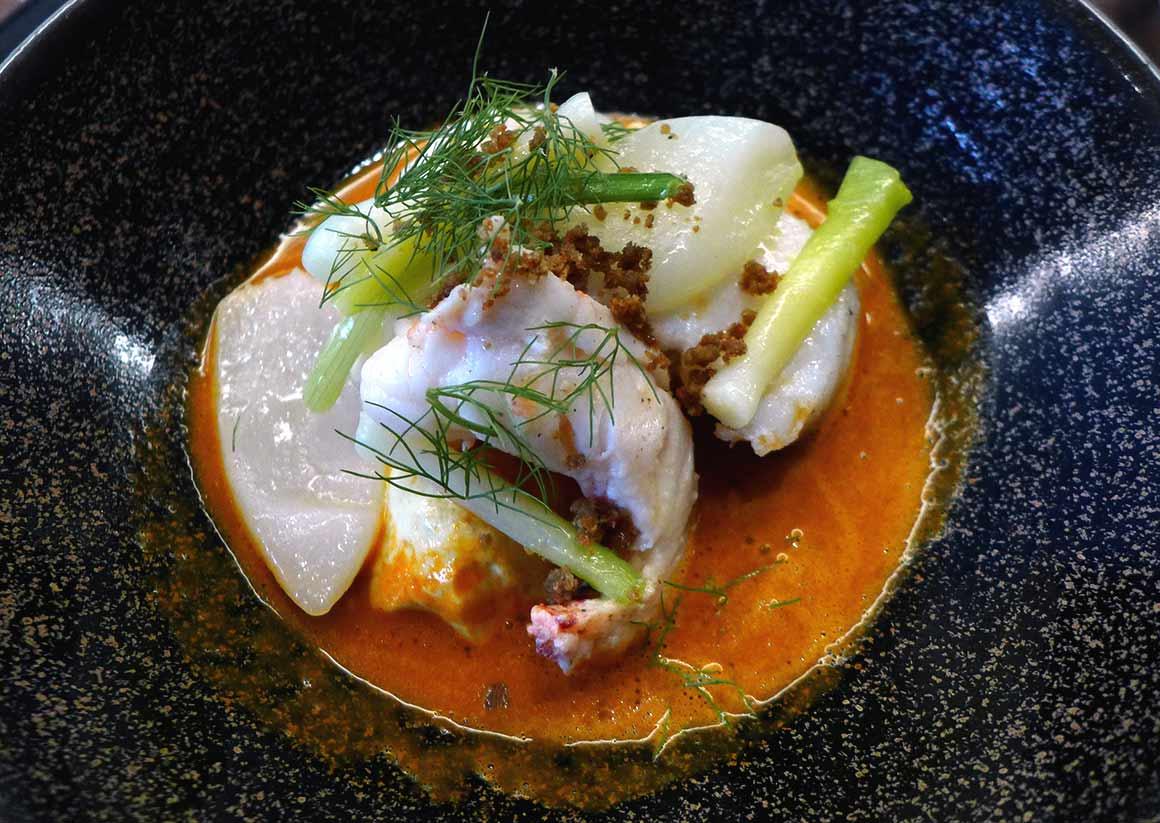 Restaurant Auguste : Lotte et homard Breton rôti