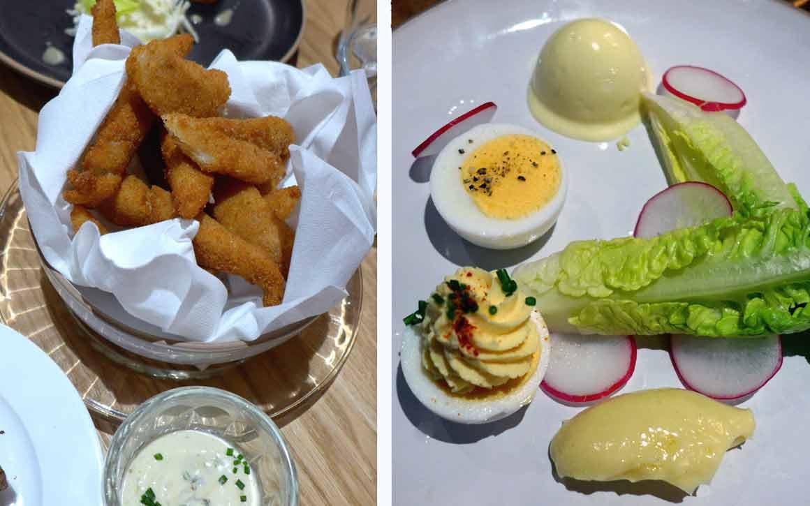 Bistrot BENOIT Louvre, goujonnettes de merlan, Œufs durs mayonnaise