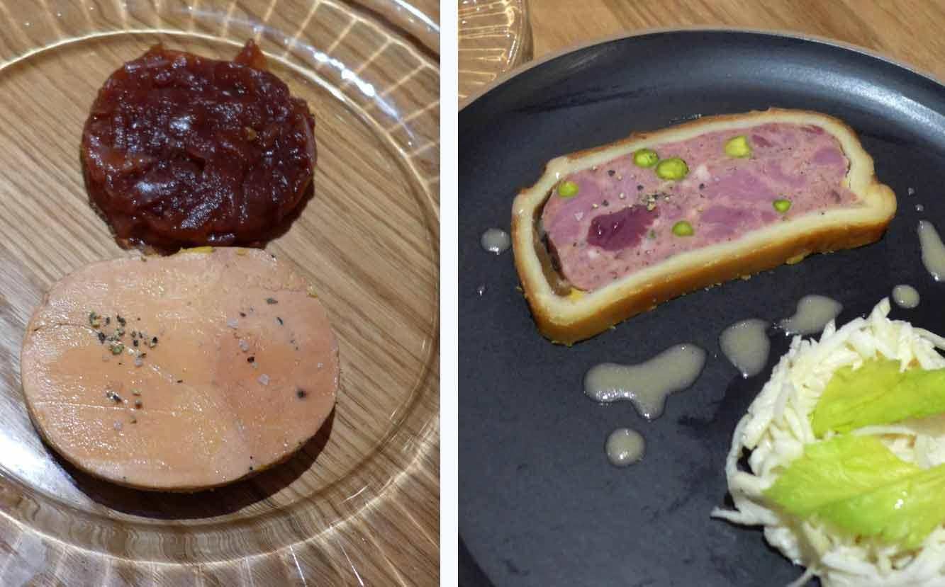 Bistrot BENOIT Louvre, foie gras de canard et Pâté de volaille