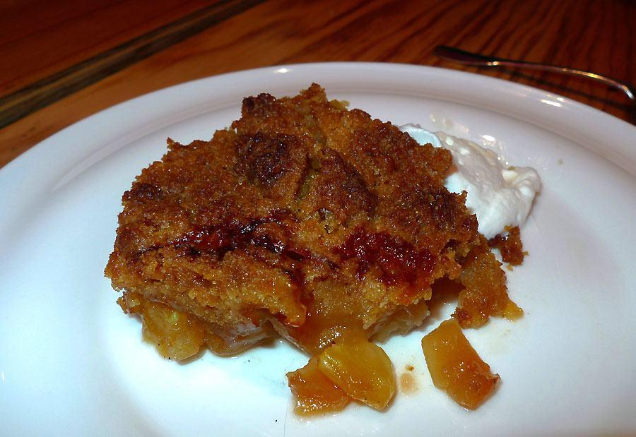 Restaurant Braisenville, crumble pomme ananas