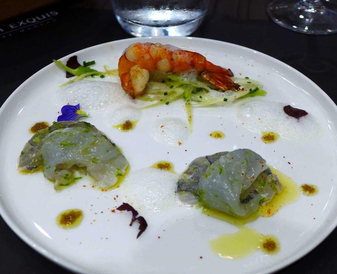 Restaurant Crom'Exquis : Gambas en carpaccio crues