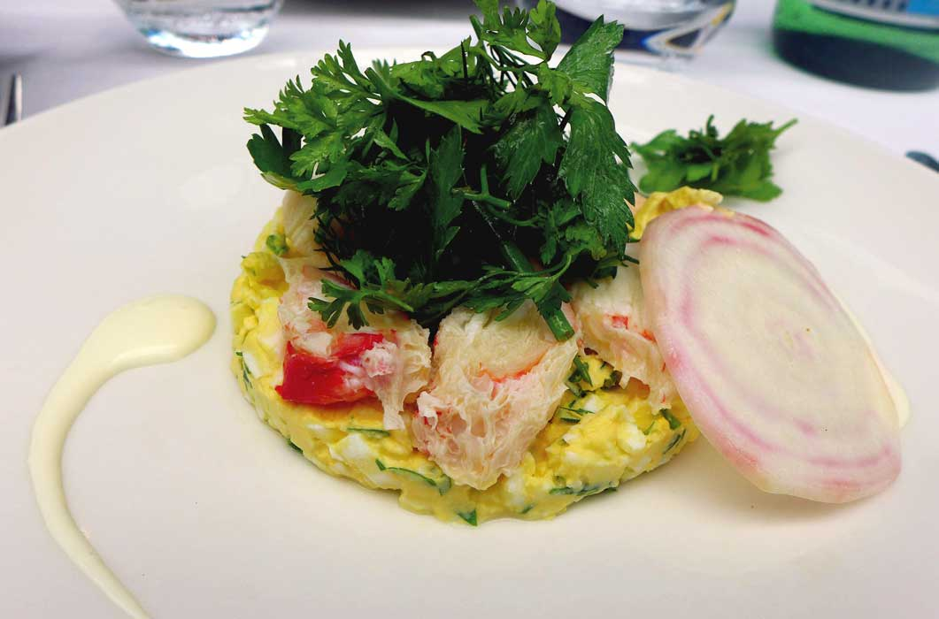 Restaurant La Gare, King Crab et œuf mimosa