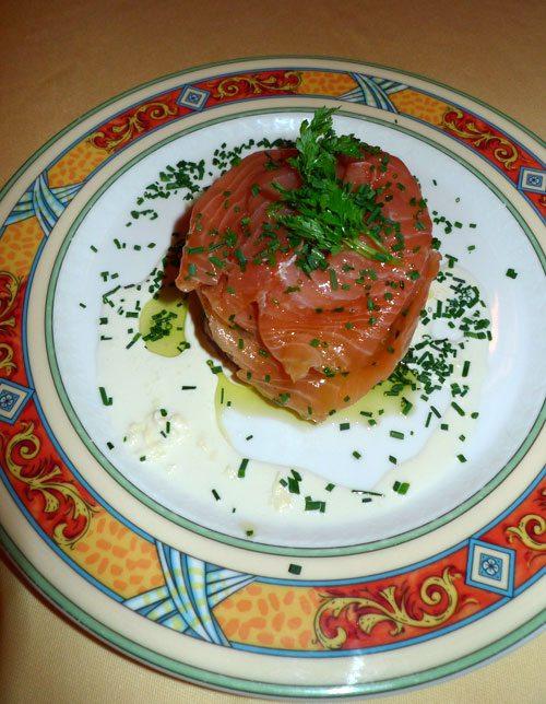 Restaurant Bellini, La bulle de saumon fumé, ricotta et saumon frais