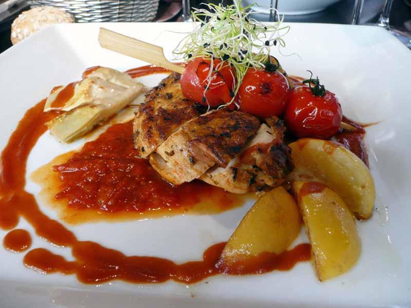 Restaurant Di Vino, Le suprême de poulet aux citrons confits et purée à l'huile d'olive