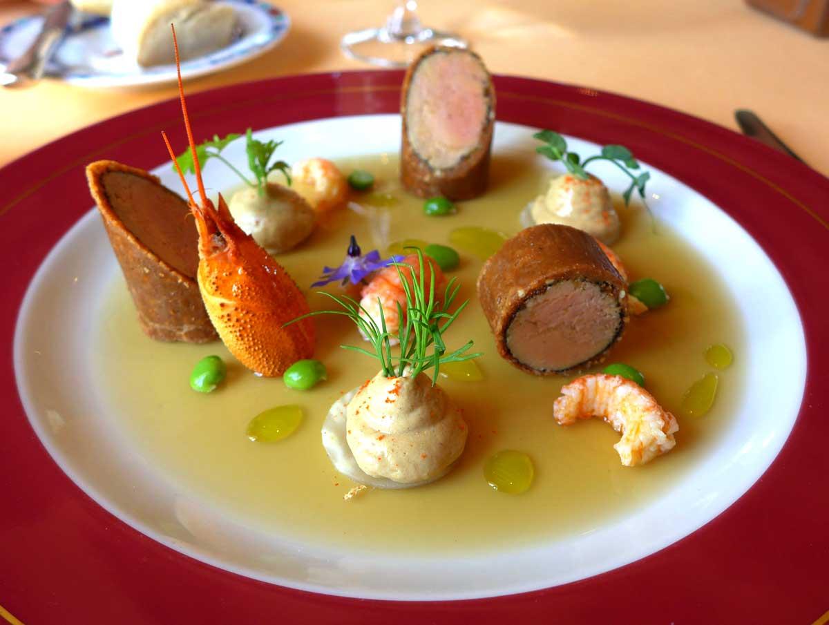 Restaurant Domaine des Hauts de Loire : Foie gras de canard et écrevisse