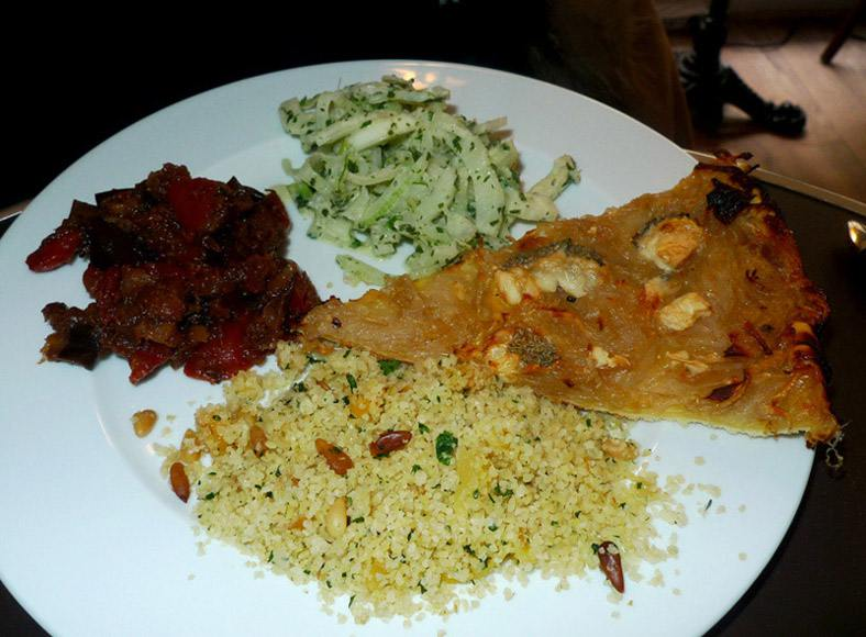 Restaurant Eh Oui, tarte aux échalotes confites et chèvre