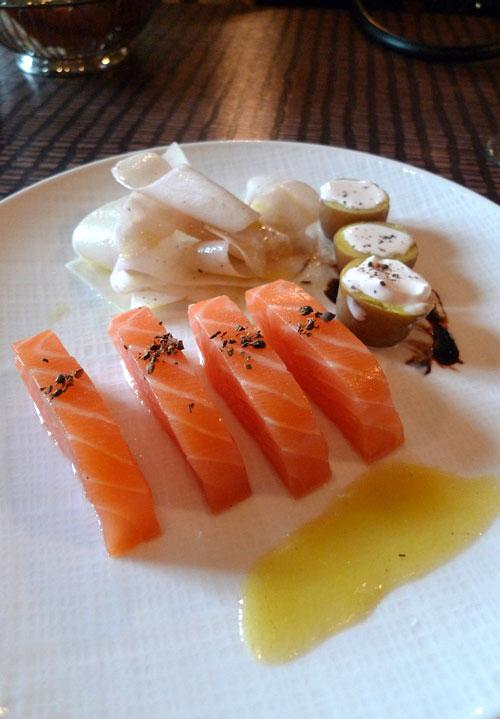 Restaurant Flottes O Trement, coeur de saumon fumé