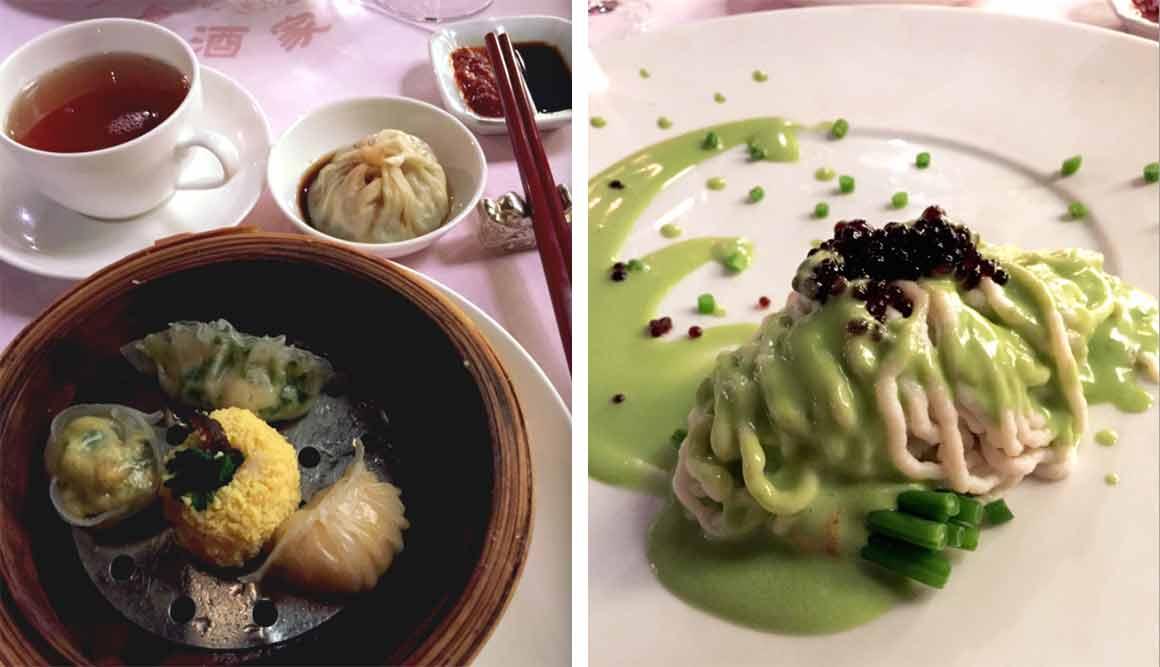 Restaurant VONG, assortiment de vapeurs-filet de Bar façon Vong
