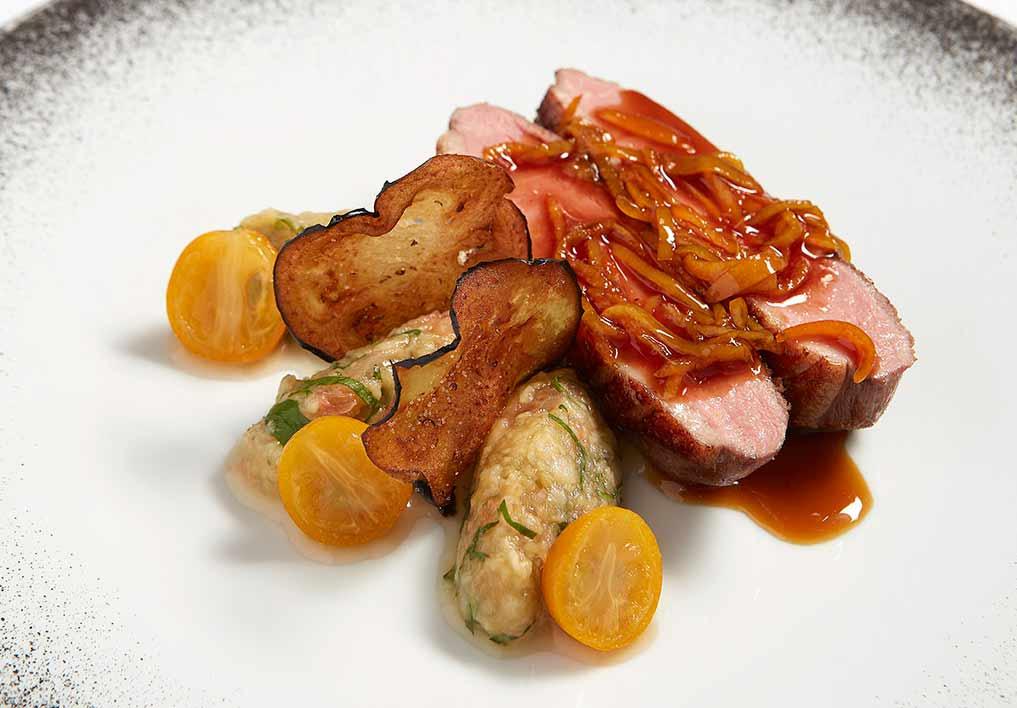 Restaurant I LOVE PARIS: Canette, aubergines, pamplemousse