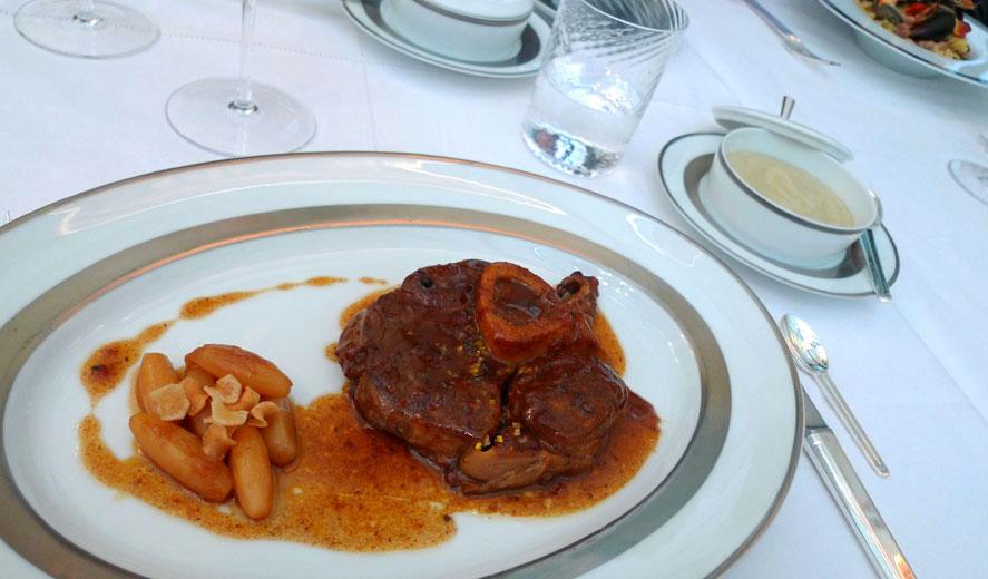 Restaurant Il Carpaccio, L'ossobuco de veau cuit au four