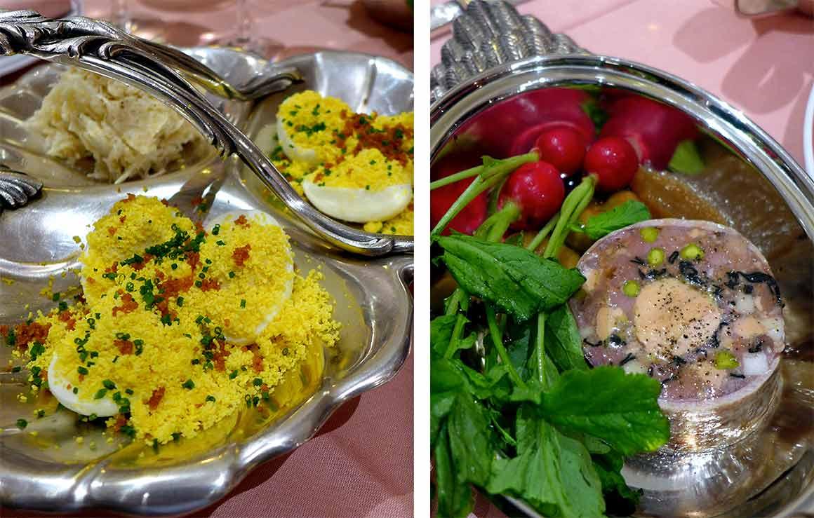 Restaurant La Poule au Pot, oeuf mimosa et galantine