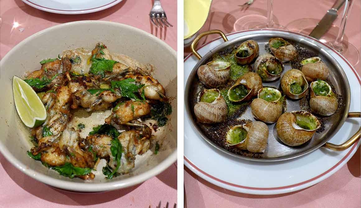 Restaurant La Poule au Pot, grenouilles et escargots