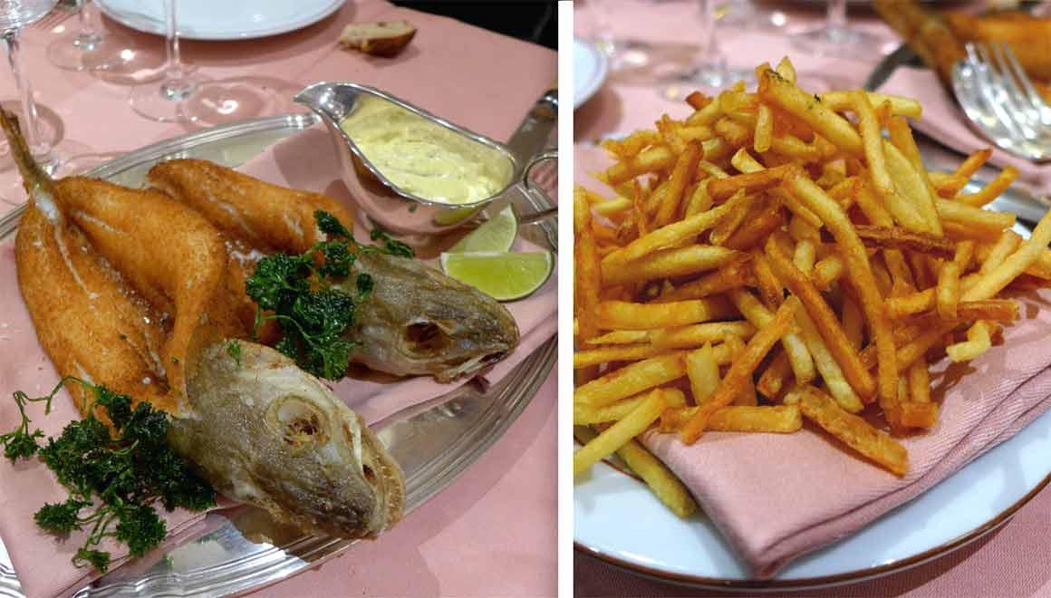 Restaurant La Poule au Pot, merlan Colbert et frites