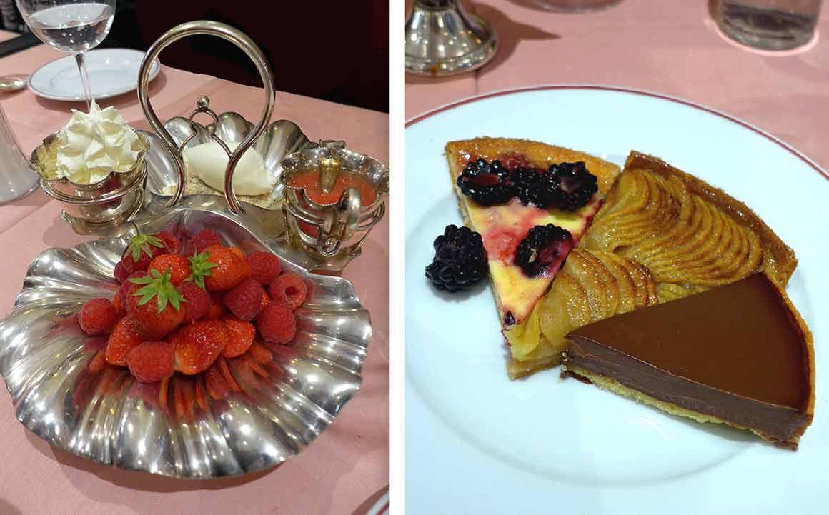 La Poule au Pot, fraises et framboises et les tartes du plateau.