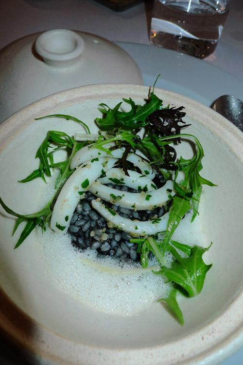 Restaurant Le KEI : Risotto à l'encre de seiche et calamars
