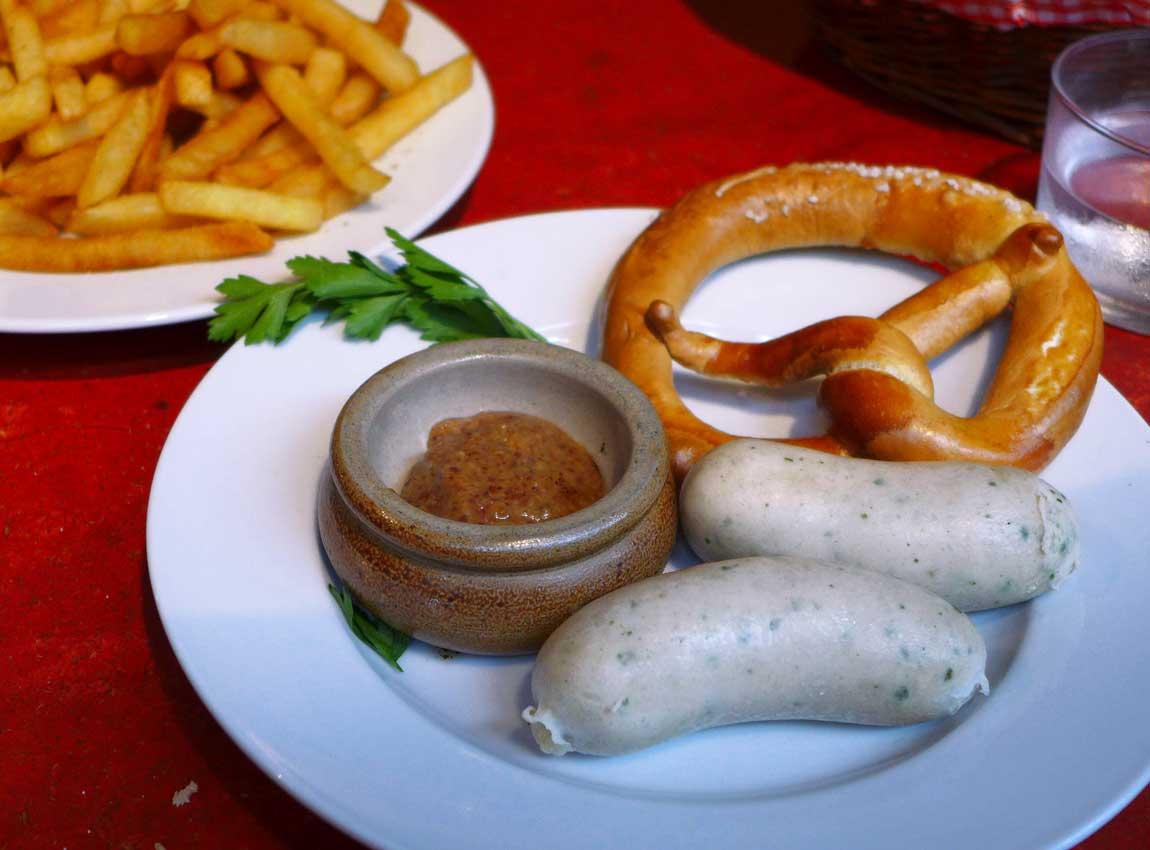 Restaurant Kiez Biergarten, saucisses blanches