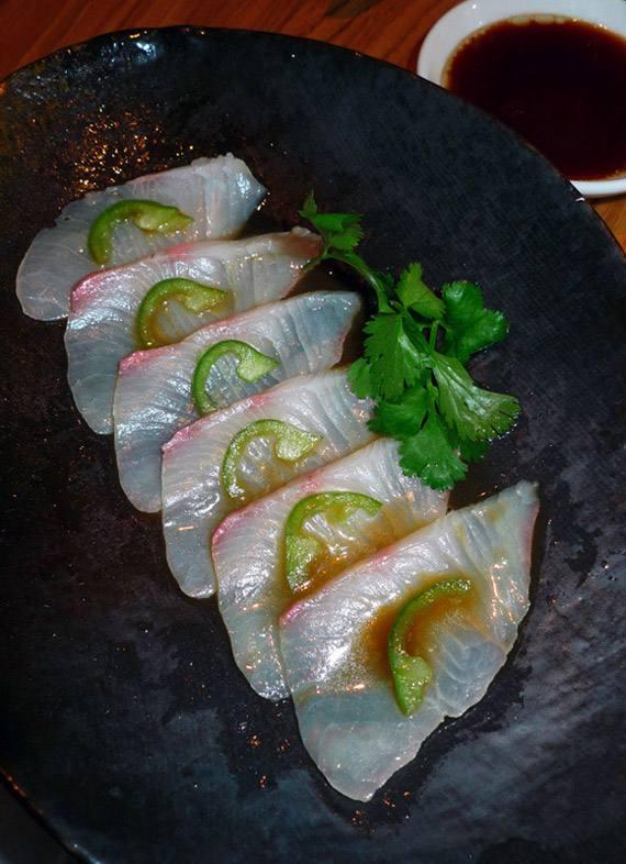 Restaurant Kinugawa, sashimi de daurade royale