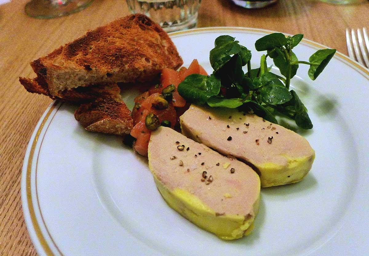 Restaurant LA BOURSE ET LA VIE, foie gras et coing