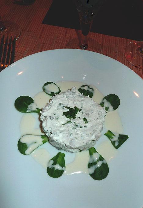 Restaurant La Grande Ourse, Le tartare d'huître à la crème de Beaufort