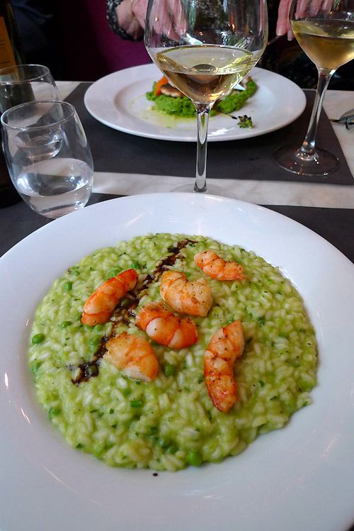 Restaurant La Pizzetta, risotto aux petits pois et gambas