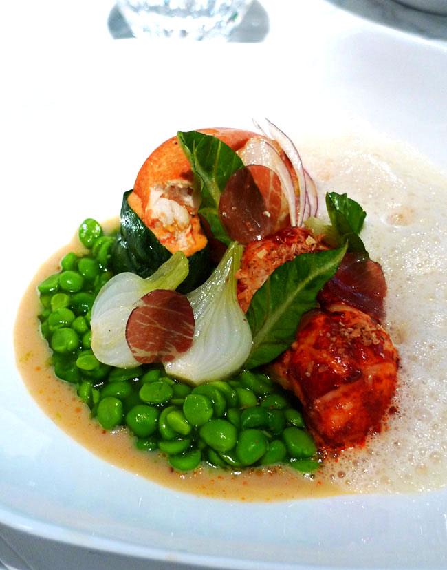Restaurant La Scène : Homard bleu rôti avec petits pois