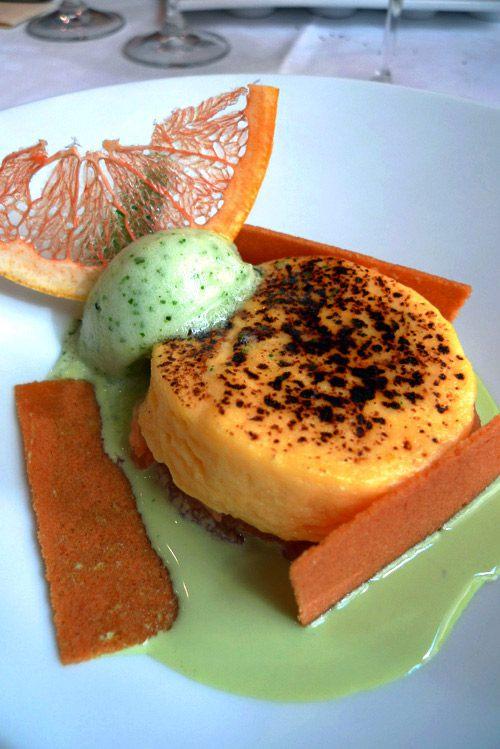 Restaurant Carte Blanche, L'agrume pomelos caramélisés avec crème chiboust à la fleur d'oranger et sorbet citron basilic