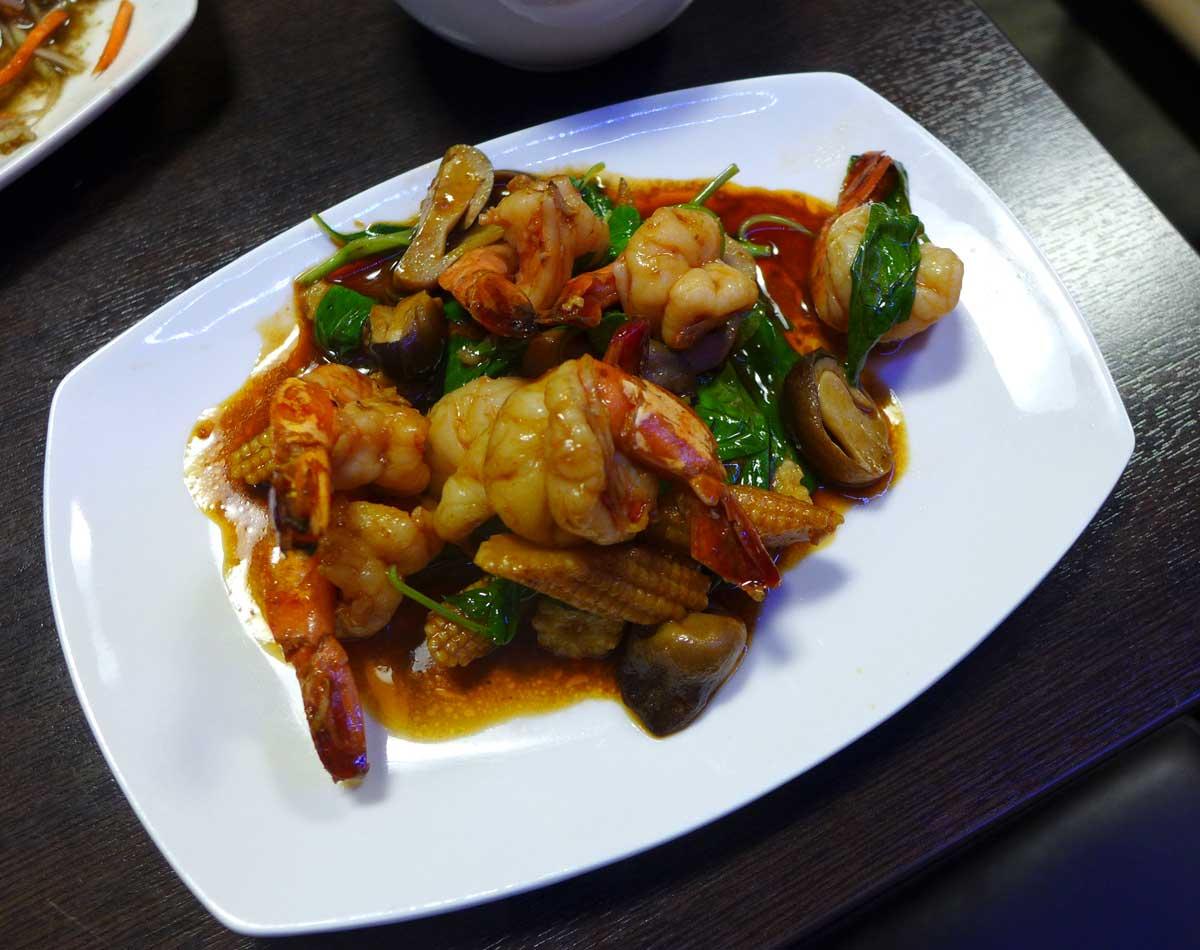 Restaurant Lao Douang Chan, Crevettes sautées au basilic
