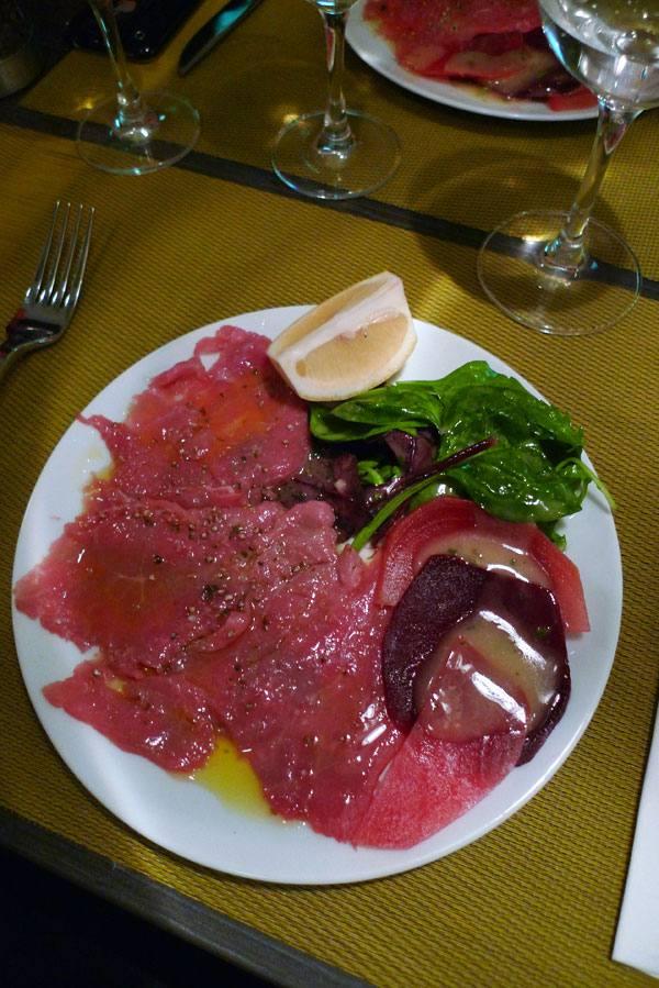 Restaurant L'Atelier de l'Escalope, carpaccio de veau