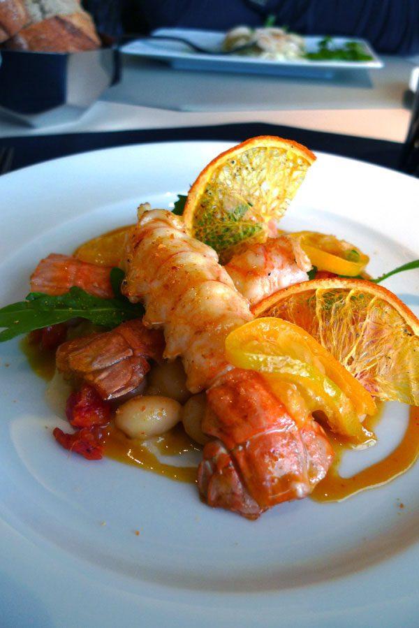 Restaurant Le 39 V : Langoustines avec coco et vinaigrette aux agrumes
