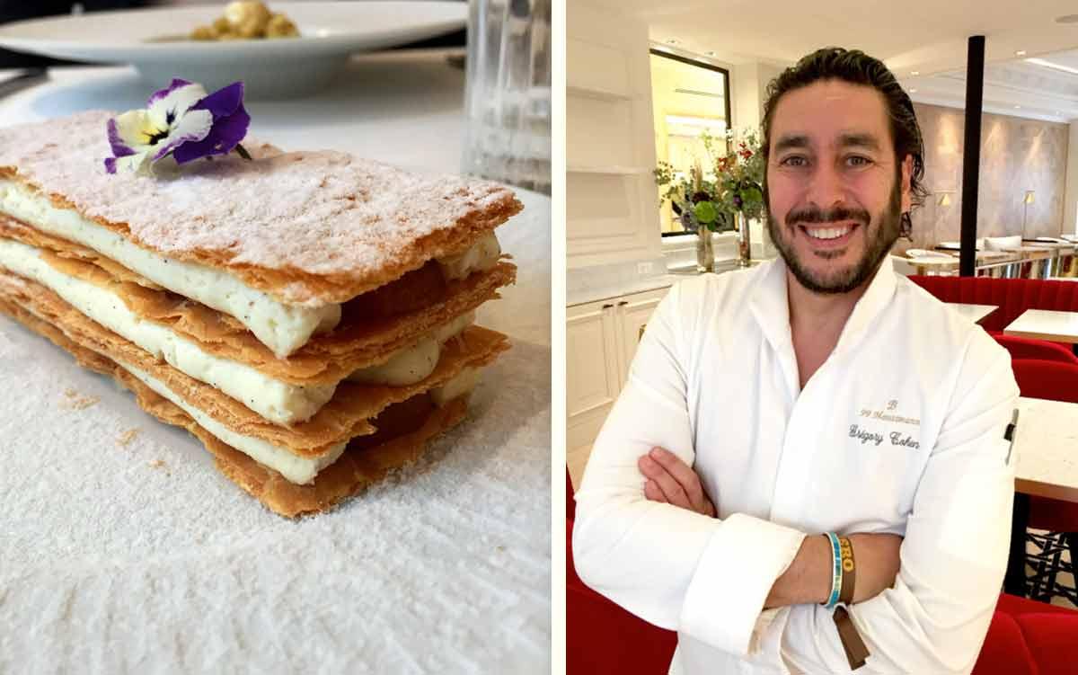 Restaurant Le 99 Haussmann : Mille-feuille de Nata - le chef Grégory Cohen.